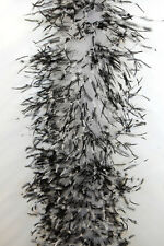 "OSTRICH Chinchilla FEATHER BOA 4 Ply - WHITE/BLACK 72"" Costumes/Hats/Craft/Trim"