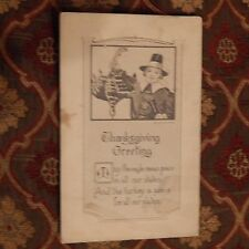 Vintage Postcard Thanksgiving Greeting Poem With Pilgrim And Turkey