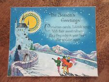 vintage Post card Christmas Seasons Greetings carols poem old colorful