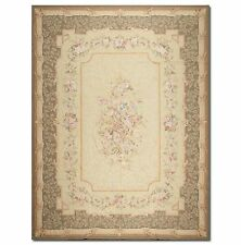 STUNNING HANDMADE FRENCH NEEDLEPOINT RUG - AUBUSSON TAPESTRY 9X12