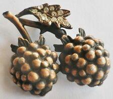 broche rétro en forme de mûre en relief de couleur bronze cristaux diamant * 380