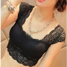 Sexy Women Floral Lace Padded CropTop/Bustier/Sports Bra/Blouse/Tank Top- BLACK.