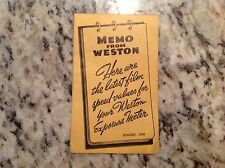 1938 Weston Photographic Thermometer Emulsion Speed Values manual guide camera