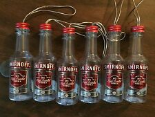 Set Of 6 Smirnoff Vodka Mini Bottle Ornaments Plastic 50ml