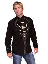 Men's New Scully Western Cowboy Rodeo Embroidered Guitar Shirt Black XL