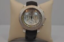 New Techno Master 0.50CT Diamond Watch TM-2108 Black Leather Band