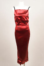 Dolce & Gabbana Red Satin Bodycon Corset Sleeveless Dress SZ 42