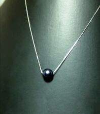 Freshwater Black Pearl Pendant with Silver Chain Necklace *925* Sterling Silver