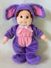 TY BEANIE KID Girl Brown Curly Hair with bow Blue Plastic Eyes Bunny Gear