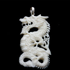 Pendant necklaces organic white bone dragon SILVER necklaces jewelry PBJ-037 new