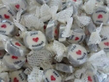 SILVER JUST MARRIED ROCK SWEETS WEDDING FAVOURS X80