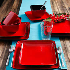 Red And Black Dinnerware Set Thanksgiving Everyday Modern Dishes Sets Dining NEW
