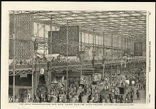 Great Exhibition East Nave Well Dressed Visitors 1851 antique engraved print
