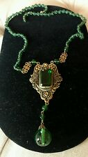 SHABBY antiQue VTG GREEN COLOR FILIGREE STYLE VICTORIAN czech? necklace as is