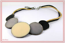 BLACK, CREAM & BLUE GREY ENAMELLED DISC DOUBLE THONG ETHNIC NECKLACE (17)
