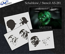 Step by Step Airbrush Schablone AS-281 M Zombie ~ Tattoo Stencil ~ UMR-Design