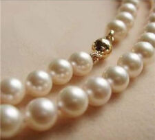 """9-10MM AAA White Akoya Pearl Necklace 17"""" 14K Gold Clasp002"""