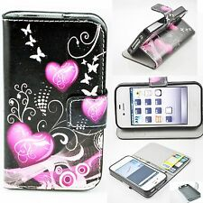 Love Heart Flip Stand PU Learther Card Pouch Case Cover For Apple iPhone 4 4S