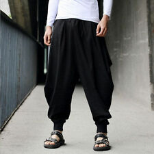 Mens Japanese Samurai Style Boho Casual Loose Fit Harem Baggy Hakama Linen Pants