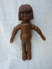 """Unusual Antique Vintage 8"""" Segmented Wood Eskimo (?) Doll Figure Carved Head"""