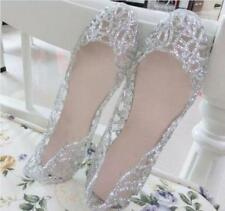 Hot Sale Ladies Ventilate Crystal Shoes Jelly Hollow Sandals Flat Shoes Uk Size