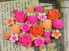 20pcs - Resin Flower Cabochons - Fuchsia/Orange