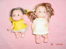 Vtg-Evergreen-Hong Kong eyelashes freckle yellow dress clothes Toy ugly doll Lot