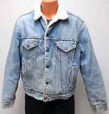 vtg Levi's BLUE DENIM SHERPA Coat 46 fleece trucker 80s jacket jean usa DISTRESS