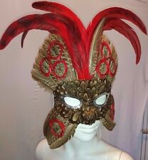 Feather Masquerade, Mardi Gras, Bird Maschera. Brown & Rosso 9413
