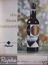 PUBLICITÉ 1958 RAPHA VIN DOUX NATUREL ST RAPHAËL - ADVERTISING