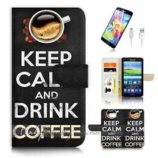 Samsung Galaxy S7 Flip Wallet Case Cover P3136 Keep Calm Drink Coffee