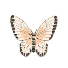 Broche Doré Papillon Insect Email Rose Beige Noir Ancien Class Mariage Retro XZ5