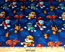 PAW PATROL FABRIC! 1/2 YARD FOR QUILTING! MARSHALL~ROCKY~CHASE~RUBBLE~ZUMA! BLUE