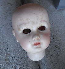 """Vintage Reproduction Porcelain Depose Open Dome Girl Doll Head 2 3/4"""" Tall"""