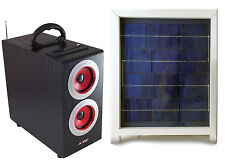 Solar Power Radio Boombox with Subwoofer, Portable Boombox with Solar Panel, Red