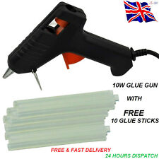 TRIGGER ELECTRIC HOT MELT GLUE GUN PLUS 10 ADHESIVE STICKS FOR HOBBY CRAFT MINI