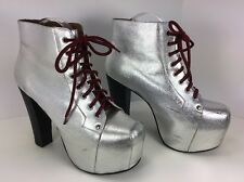 Jeffrey Campbell Silver Metallic Platform Ankle Boot LITA Shoes 9 M