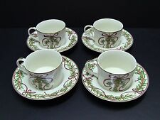 Royal Gallery QUEENSBERRY Christmas Cups and Saucers / Set of 4