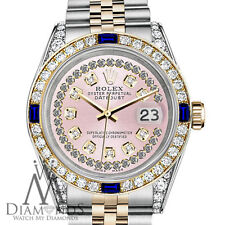 Women's Rolex 31mm Datejust Watch Pink String Dial with Sapphire & Diamond