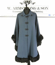 Vintage Blue Faux Fur Frog Fastening Collared 50s Style Cape Cloak Opera Poncho
