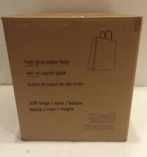 Midnight black high-gloss paper bags. 250 count. 10x8x4.75 Retail $240.00 NEW