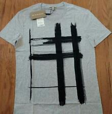 "Mens Authentic Burberry Brit ""Lanesbury"" Printed T-Shirt Pale Gray XL $195"
