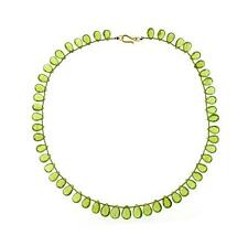 14K Yellow Gold Apple Green Peridot Briolette Artizan Necklace