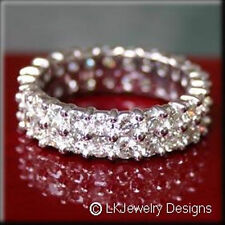 4.00 CT FOREVER BRILLIANT MOISSANITE ROUND DOUBLE ETERNITY TWIN BAND RING