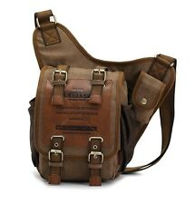 Men's boys Canvas Leather Shoulder Military Messenger Sling school Bags 3021
