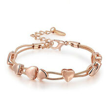 Adjustable Heart Shaped Flexi Bracelet with Lobster Clasp Rose Gold Plated UK