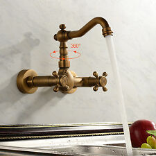 New Antique Widespread Bathroom Sink Faucet Antique Brass Dual Handles Mixer Tap