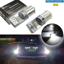 2x Pure White 1156 BA15S P21w Philips Luxen LED Bulbs for Back Up Reverse Lights