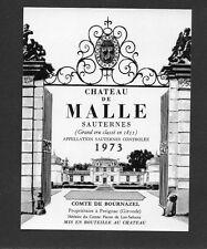 SAUTERNES GCC VIEILLE ETIQUETTE CHATEAU DE MALLE 1973 37.5 CL  §06/11§