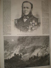 Late Captain Hugh Burgoyne VC commander HMS Captain 1870 old print ref Z3